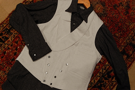 Black Sign Mini Herringbone Butler Vest WHT & Grand Lodge Shirt BK.jpg